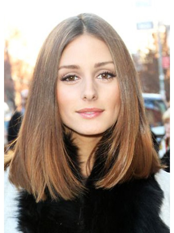 Lob Hairstyle Silky Straight Natural Color Human Hair Lace Front Wigs 16 Inches