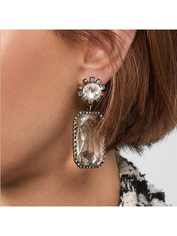 Square Shape Gemstone Alloy Drop Earrings