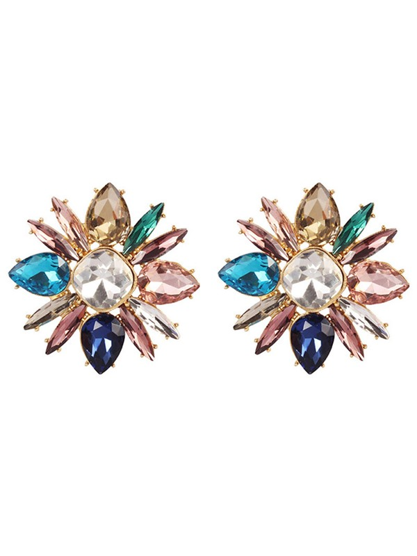 Colorful Flower Luxury Gem Statement Earrings