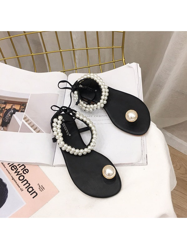 Ankle Strap Thong Flat Heel Casual Sandals
