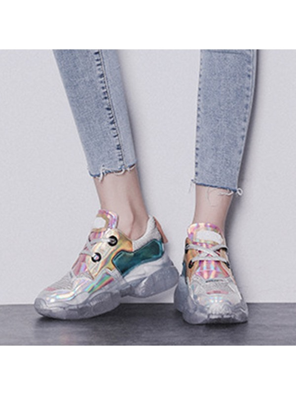 Lace-Up Metallic Color Block Women's Chunky Sneakers