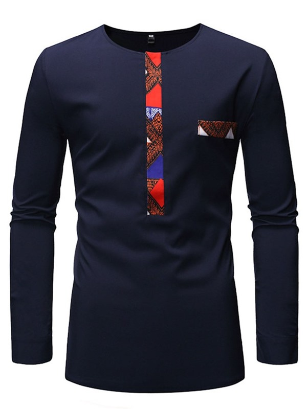 Patchwork Casual Round Neck Long Sleeve Men's T-Shirt