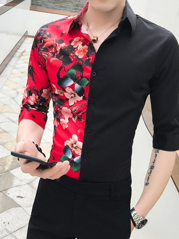 Floral Print Patchwork Single-Breasted Men's Shirt