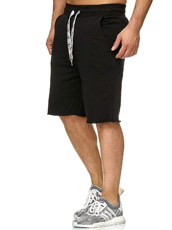 Plain Lace-Up Straight Summer Men's Casual Shorts