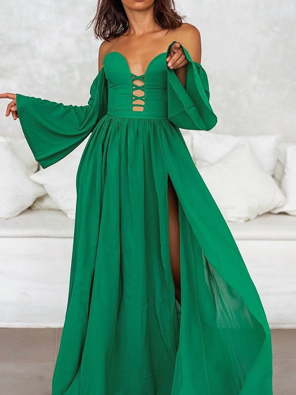 Ankle-Length Long Sleeve Off Shuolder Women's Maxi Dress