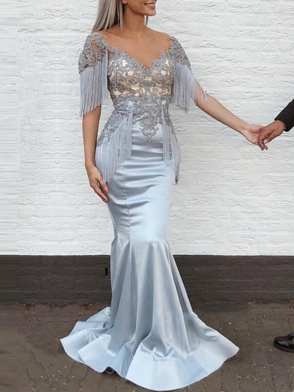 Tassel Short Sleeves Appliques Mermaid Evening Dress 2019