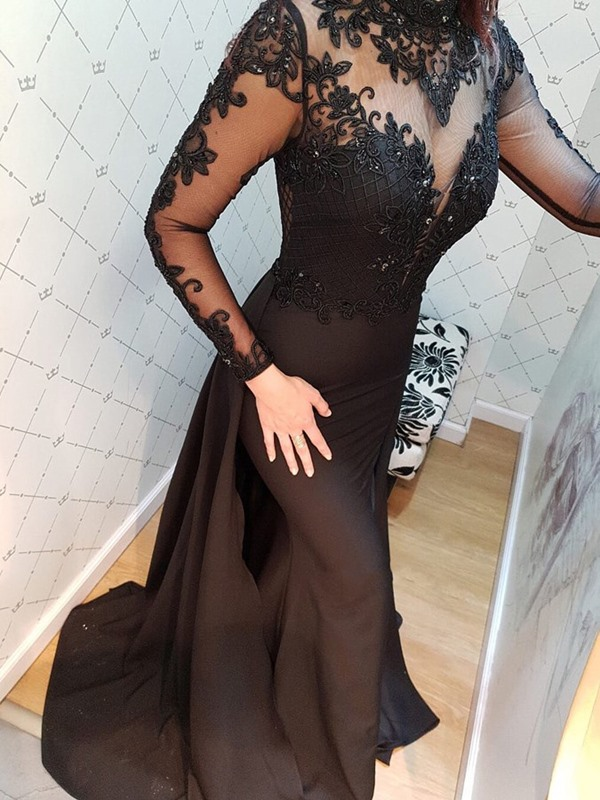 Embroidery Beading Watteau Train Long Sleeves Evening Dress 2019