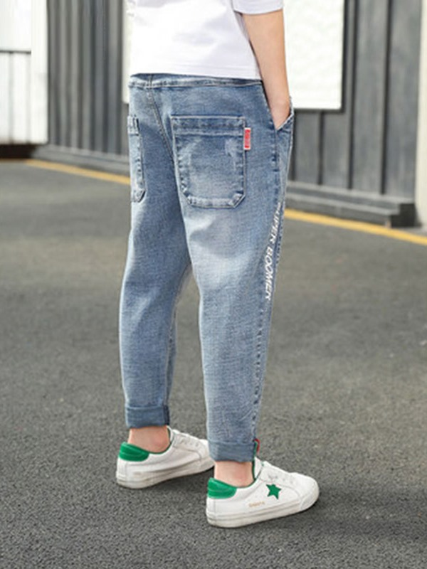 Worn Plain Denim Elastic Boys' Jeans