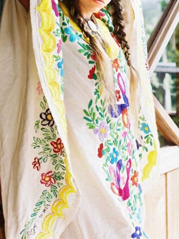 Ankle-Length Embroidery Floral Maxi Women's Casual Dress