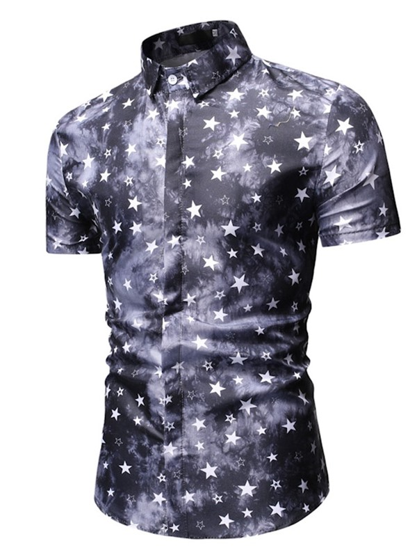 Star Print Lapel Short Sleeve Men's Shirt