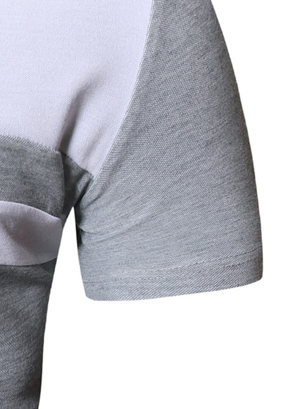 V-Neck Casual Color Block Slim Men's T-Shirt