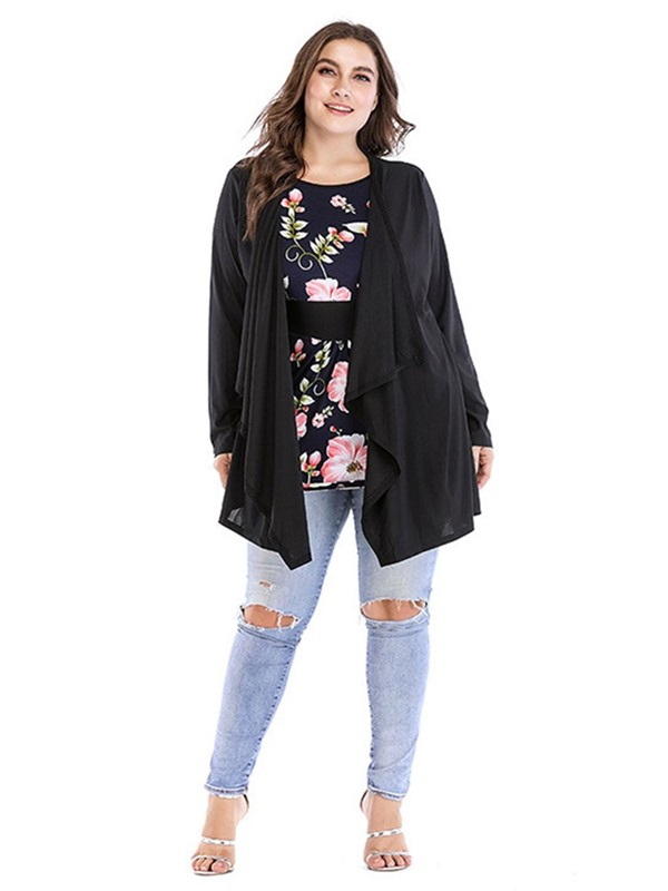 Plus Size Round Neck Block Long Sleeve Mid-Length Women's Blouse