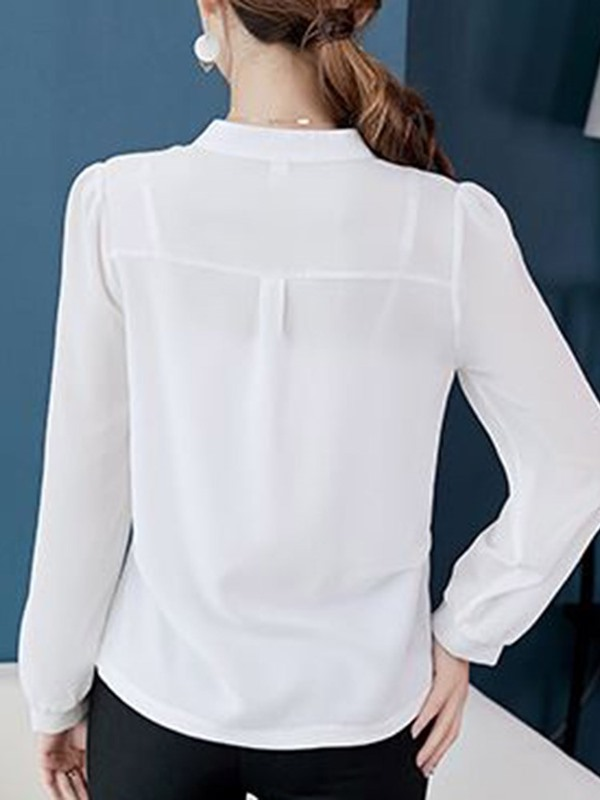Plain V-Neck Long Sleeve Bead Women's Blouse
