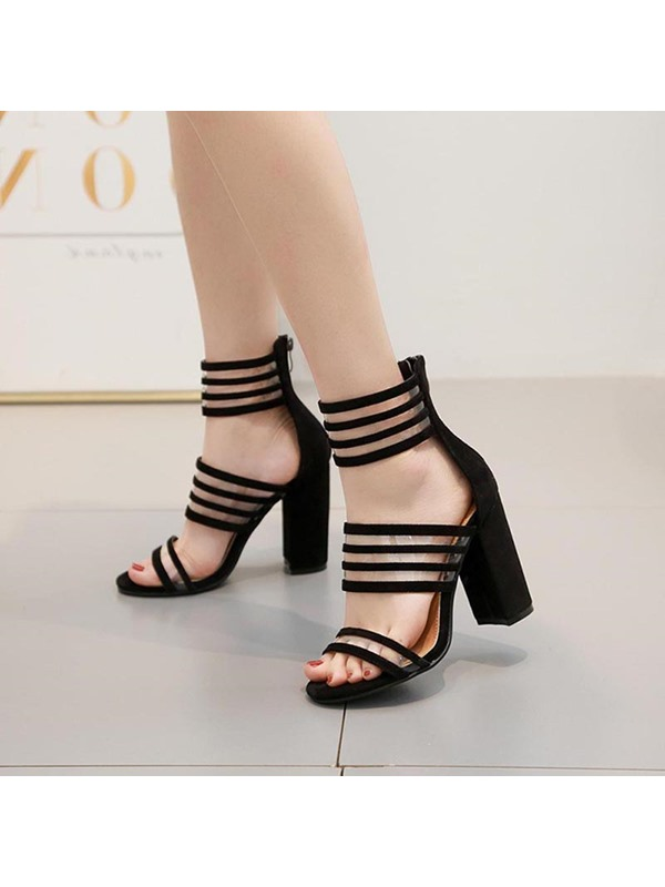 Heel Covering Zipper Open Toe Casual Sandals