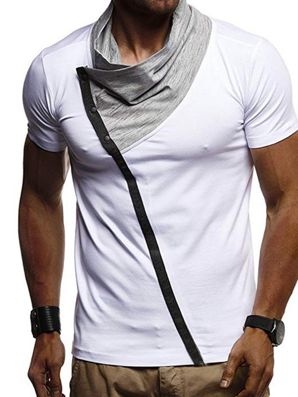 Color Block Heap Collar  Men's T-Shirt