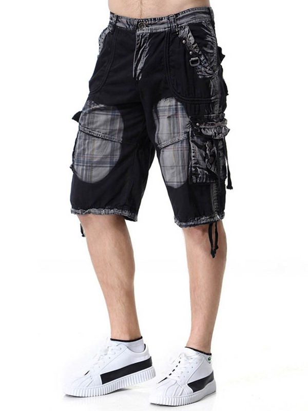 Pleated Color Block Loose Casual Men's Shorts