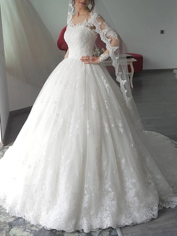 Appliques Long Sleeves Ball Gown Church Wedding Dress 2019
