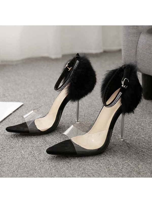 Buckle Stiletto Heel Open Toe Suede Prom Sandals