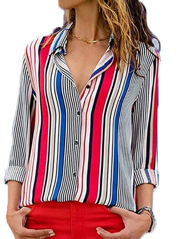 Color Block Lapel Regular Mid-Length Long Sleeve Women's Blouse