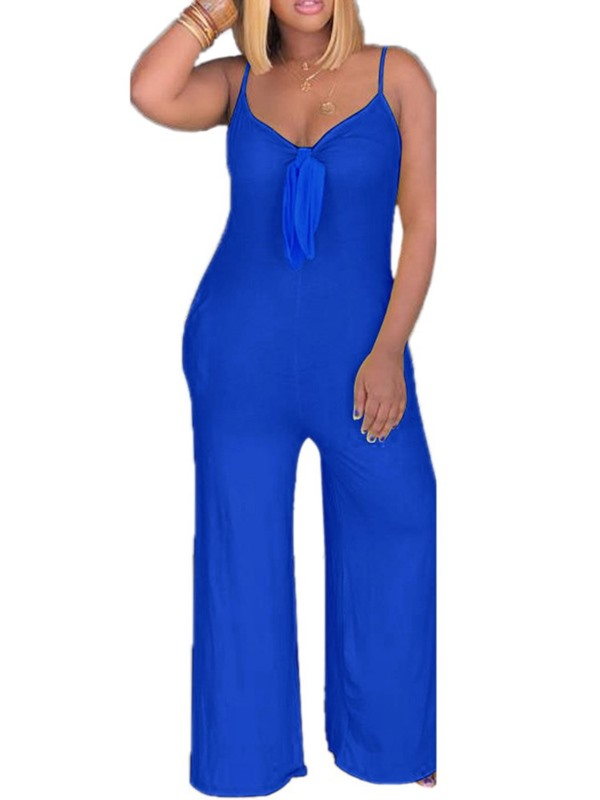 Bowknot Plain Casual Straight Mid Waist Women's Jumpsuit
