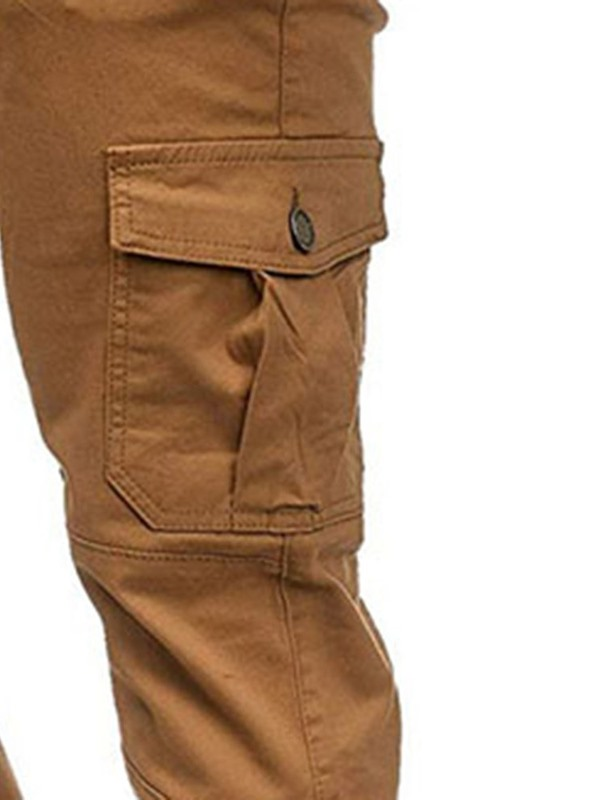 Lace-Up Plain Pocket Overall Men's Casual Pants