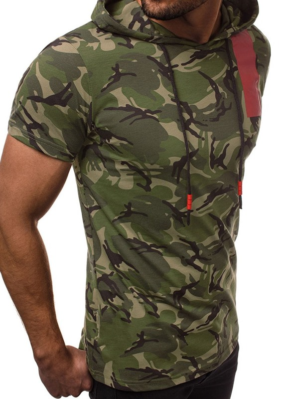 Hooded Print Camouflage Short Sleeve Men's T-Shirt