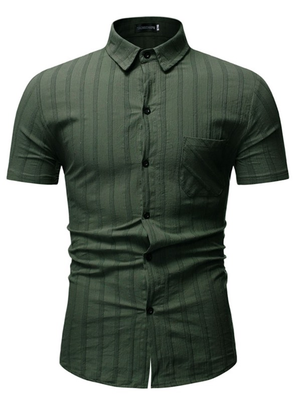 Short Sleeve Lapel Plain Summer Men's Shirt