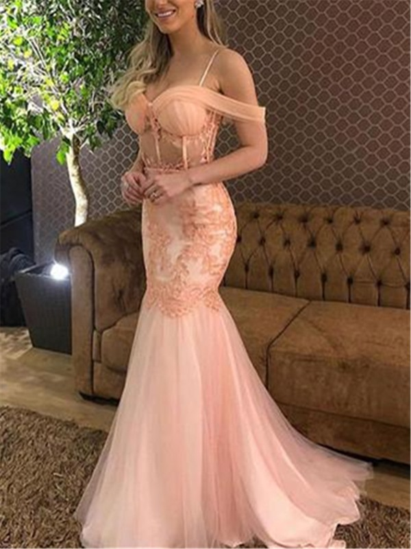 Cap Sleeves Sweep Train Trumpet Spaghetti Straps Evening Dress 2019