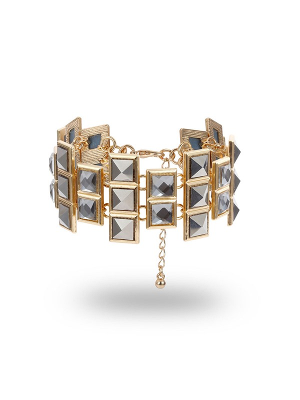 Square Shape Diamante Punk Style Bracelets