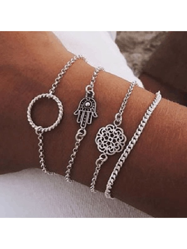 4 PCS/Set Ethnic Style Charm Bracelets Set For Women
