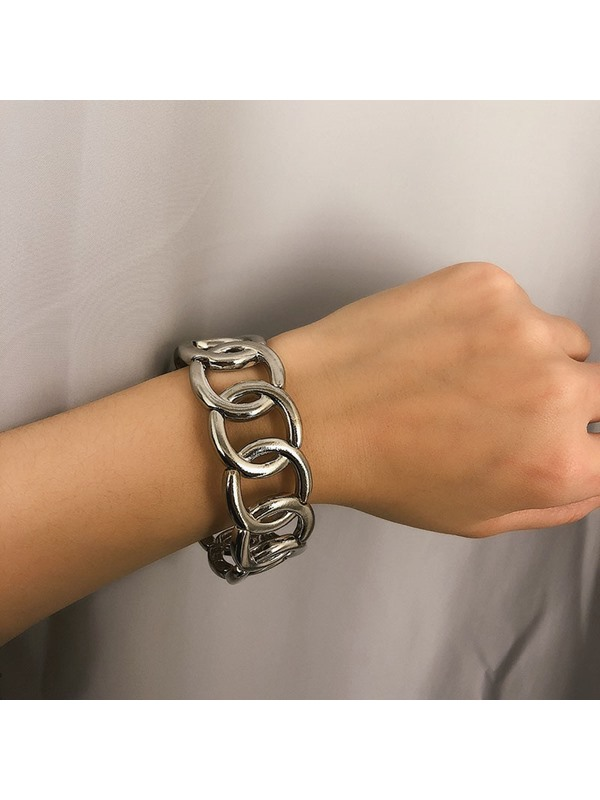Golden Wide Alloy Ring Bangle Chain