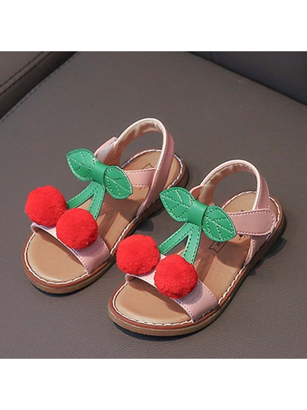Open Toe Ankle Strap Thread Cherry Girl's Sandals