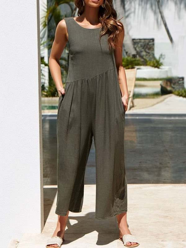 Pleated Ankle Length Wide Legs Loose Women's Jumpsuit