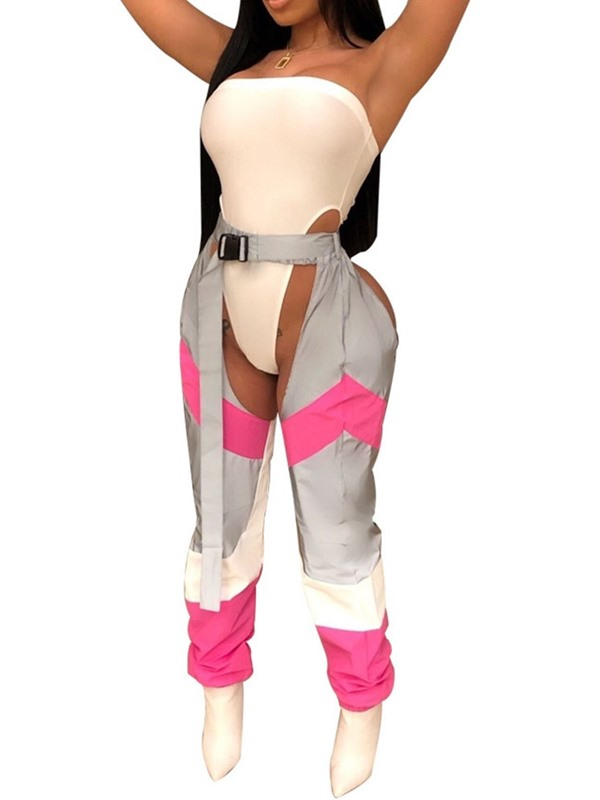 Color Block Pants Western Straight Women's Two Piece Sets