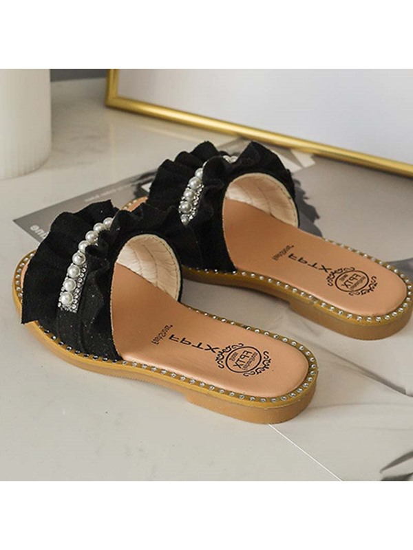 Rhinestone Slip on Flat Summer Girl's Slippers