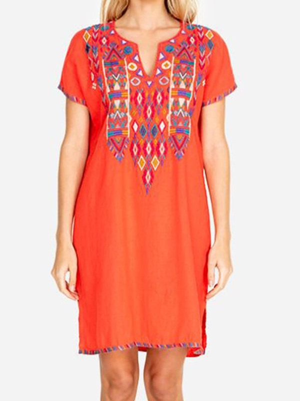 Above Knee Short Sleeve Embroidery Pullover Casual Women's Dress