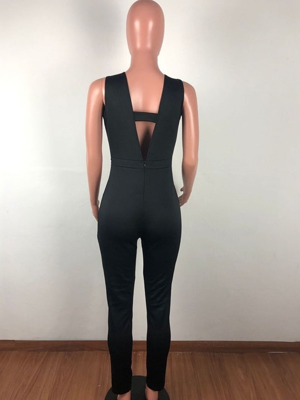 Plain Sexy Full Length Slim Pencil Pants Women's Jumpsuit