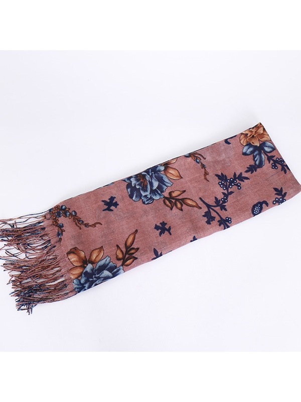 Women Long Soft Wrap Shawl Cotton Floral Print Scarf