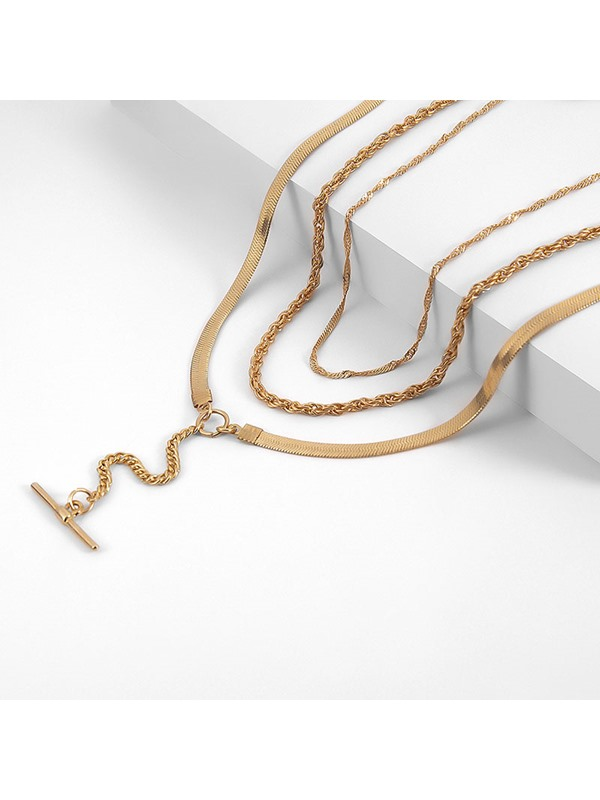 Simple Gold Color Multi Layer Lariat Necklace