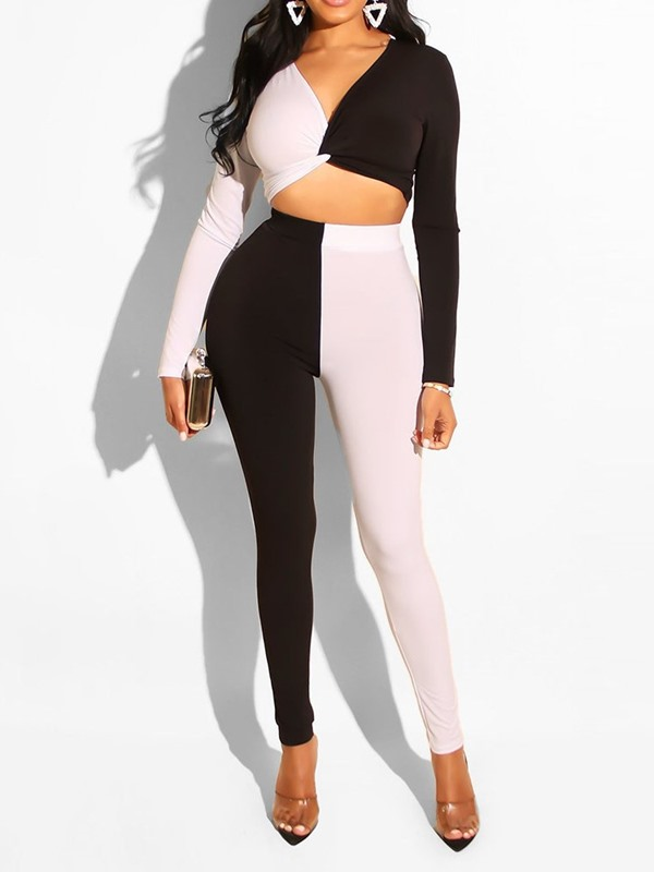 Color Block T-Shirt Pencil Pants V-Neck Women's Two Piece Set