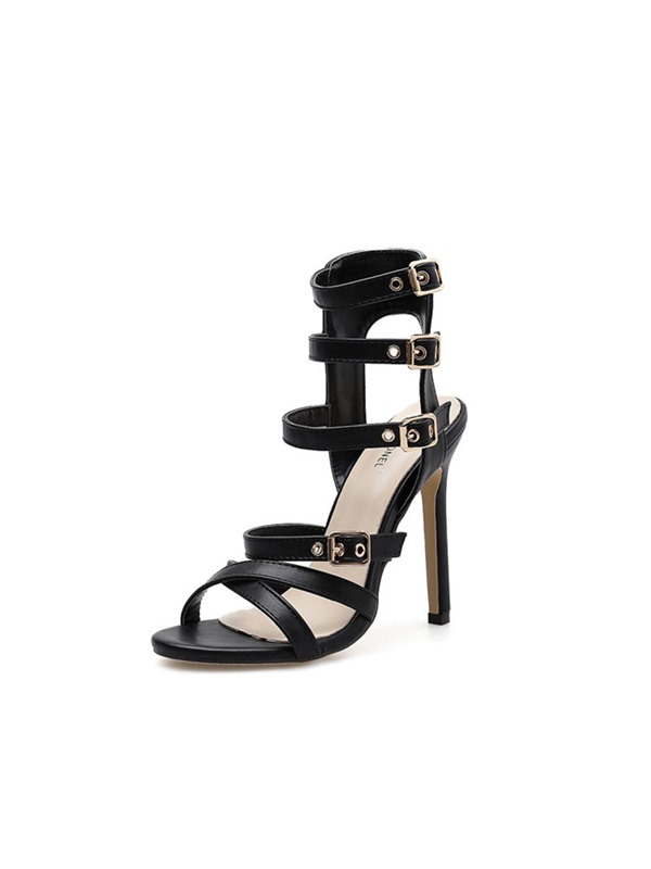 Ankle Strap Stiletto Heel Buckle Vintage Women's Sandals