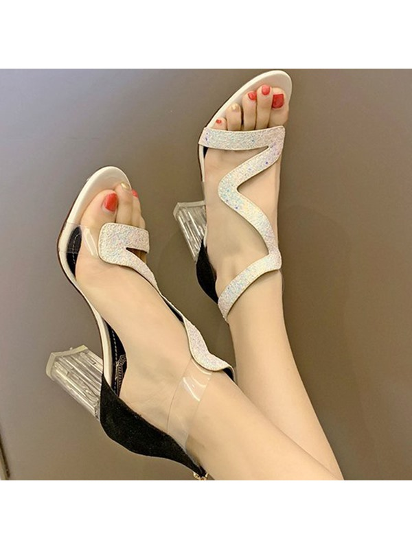 Zipper Open Toe Chunky Heel Zipper Women's Sandals