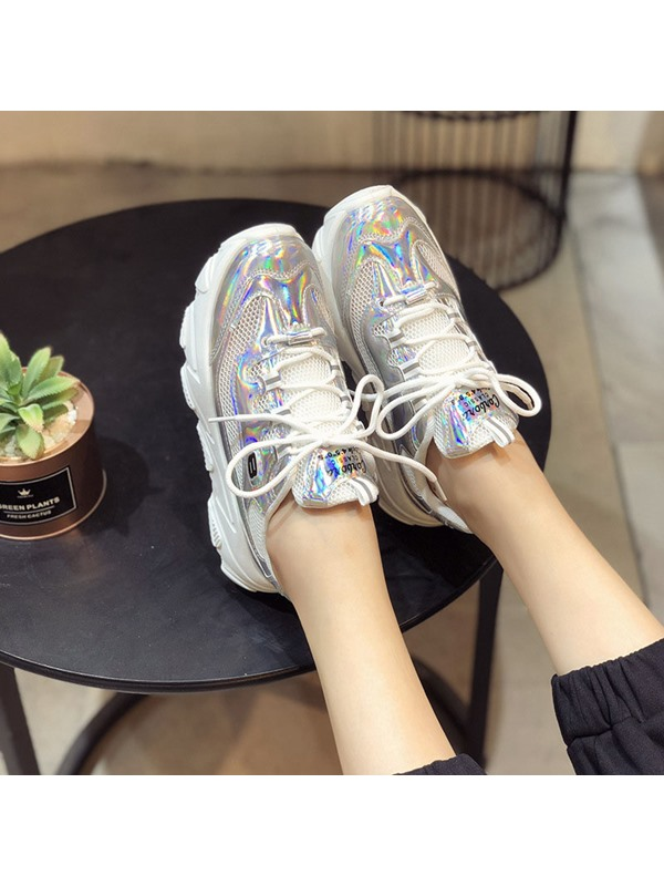 Lace-Up Color Block Chic Women's Chunky Sneakers