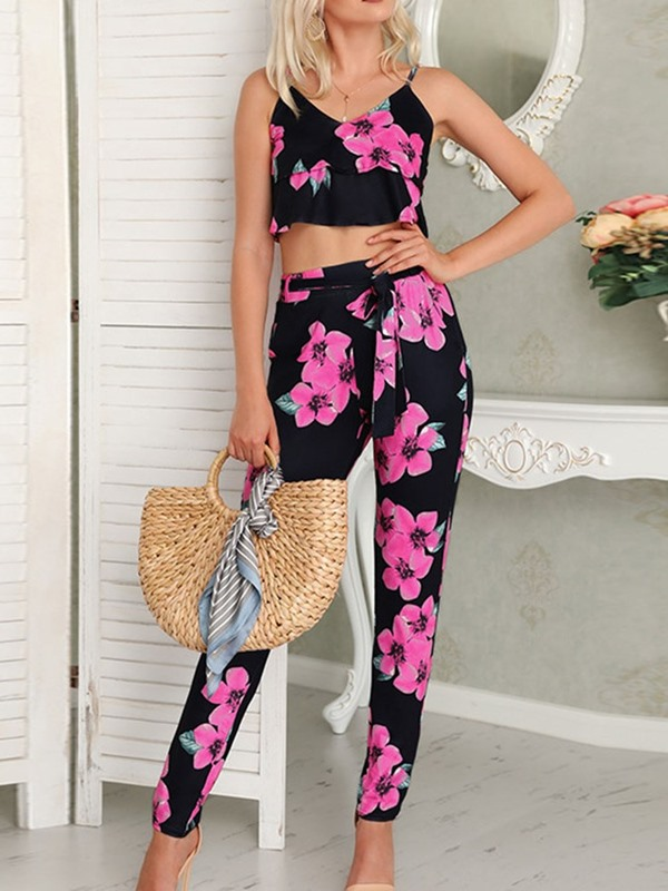 Floral Ankle Length Pants Pullover V-Neck Women's Two Piece Set