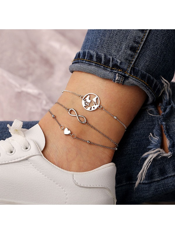 Hollow Map Shape 3 Pcs Anklet Set for Women