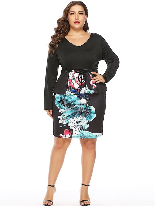 Plus Size Above Knee Lace-Up V-Neck High Waist Bodycon Women's Dress
