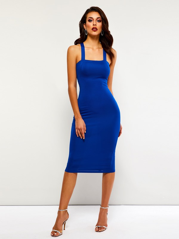 Sleeveless Lace-Up Mid-Calf Plain Women's Bodycon Dress