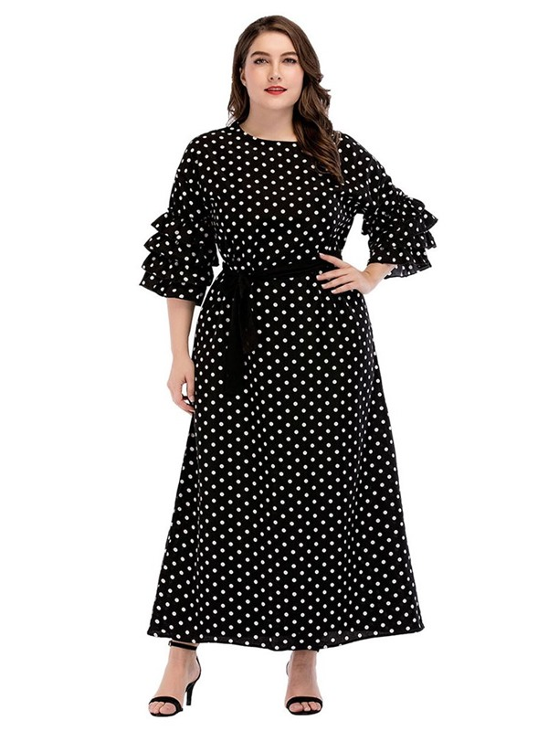 Three-Quarter Sleeve Ankle-Length Lace-Up Pullover Standard-Waist Women's Dress