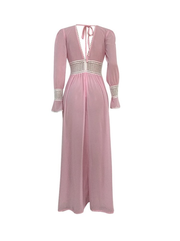 Floor-Length Lace-Up Long Flare Sleeve Women's Pleated Dress
