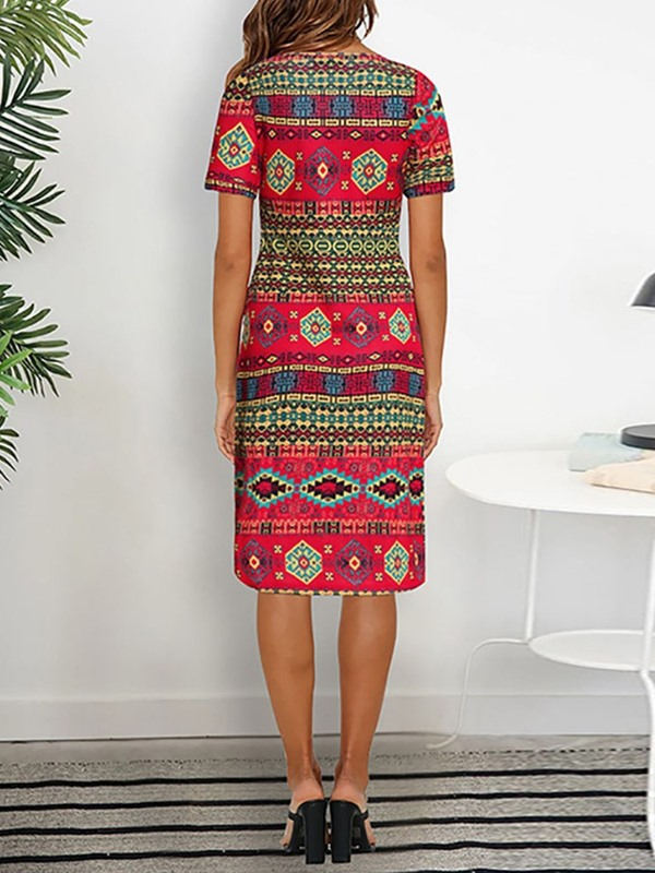 Knee-Length African Style V-Neck Geometric Women's Dress